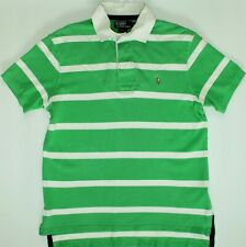 Ralph Lauren Rugby Polo Shirt - Large Size L - Green & White Striped - Mens