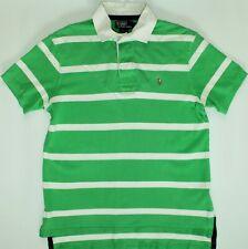 Ralph Lauren Rugby Camisa Polo-Tamaño Grande L-Verde y Blanco con rayas-Para Hombre