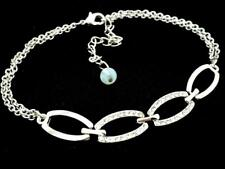 Bracelet Silver Plated Women New Crystal Double Chain Anklet Ankle