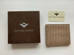 Authentic Brand New BOTTEGA VENETA Leather Intrecciato Bi-fold Wallet Sand