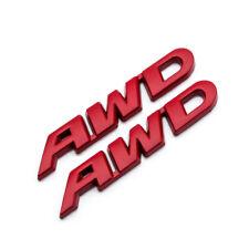 2x Red Metal AWD Rear Trunk 3D Badge Off-Road All Wheel Drive Side Fender Emblem