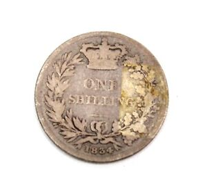 Antique William IV .925 SILVER SHILLING Dated 1834 - D38