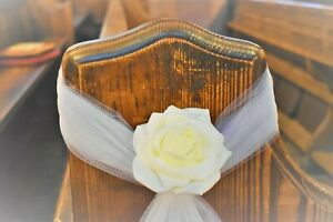 Wedding Church Voile Tulle Rose Flower Pew Ends ~DIY Decorations ~  Ivory