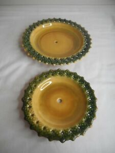 VTG MCM Mid Century USA Pottery Reticulated Tid Bit Tray Plates Green Yellow