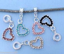 50 Mixed Heart Dangle Beads Fit Charm Bracelet 31x14mm