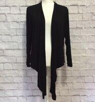 Chicos Cardigan Womens 2 Medium Long Sleeve Open Front Black Stretch Sweater
