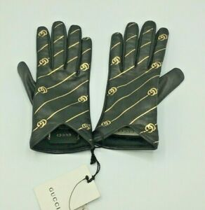 Gucci Women Leather Gloves Nappa SERIGR.RIGHE GG ORO Black/Gold Unlined Size 8