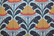 TERRA AUSTRALIS ~ Australian Waratah Crowns~Orange ~ Ella Blue ~Fabric ~1/2 yard