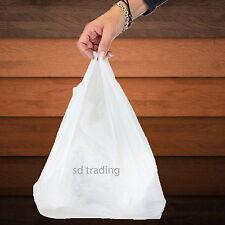 4000 White Plastic Vest Carrier Bag Take Away Supermarket Style Medium 10x15x18