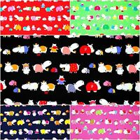 FQ Cute Hippo Family on Blue Red Green Pink Black 100% Cotton Fabric ~ Free S&H