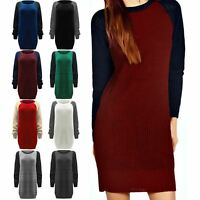 Ladies Oversized Jumper Womens Chunky Knitted Sweater Contrast Sleeve Dress Top