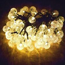 60LED 36FT Warm White Crystal Ball Solar String lights for Garden, Patio, Yard,