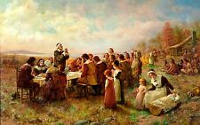 Mayflower Pilgrims First Thanksgiving 24 x 15 inch Art Quality Print