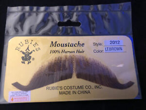Rubies 100% Real Human Hair Fake Moustache. Light Brown Style 2012