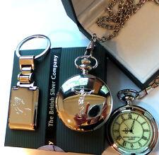 CRUCIFIX CROSS Praying Hands Half Hunter Silver POCKET WATCH Keyring Luxury Case