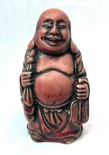 """Vintage RED Buddha Figure Miniature 2 3/4"""" Tall, Small CHIP at the base"""