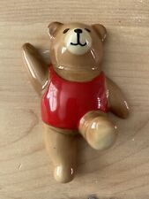 Vintage Ceramic China Teddy Bear Wall Plaque Coat Hook Wall Hanger GC