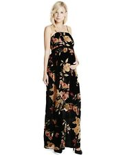8f221e4b034 Jessica Simpson Maternity Maxi Dress Women s Small Floral Black Velour