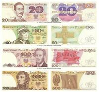 Poland 20 + 50 + 100 + 500 Zlotych Set of 4 Banknotes 4 PCS UNC