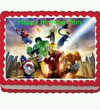 Lego Avengers Hulk birthday party Edible Cake Topper 1/4 sheet
