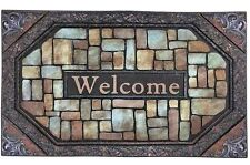 "18""x 30"" Heavy Home Fashions Welcome Stones Printed Flocked Entrance Doormat"