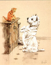 WEST HIGHLAND WHITE WESTIE TERRIER DOG LIMITED EDITION PRINT with Ginger Kitten