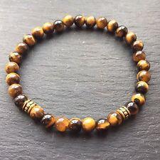 Tigers Eye Beaded Stretch Bracelet Elasticated Unisex Jewellery UK