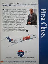 10/1990 PUB FOKKER 100 TAM LINHAS AEREAS AIRLINE BRAZIL ROLIM AMARO ORIGINAL AD
