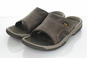 T29 NEW $80 Men's Sz 12 M Teva Langdon Nubuck Cushioned Slide Sandal In Walnut