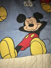 Vintage Disney Single Twin Mickey Mouse Flat Bed Sheet Bedding Character Linens