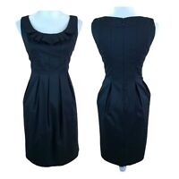Maggy London Black Ruffle Collar Jewel Neck Cocktail Fit & Flare Dress Womens 6
