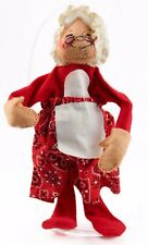 Red White Annalee Mrs Claus Fabric Doll Christmas Ornament Holiday Decoration
