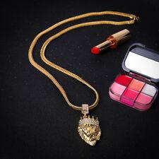 Männer Frauen Gold gefüllt Hip Hop Bling Löwe Kopf Kristall Anhänger Halskette