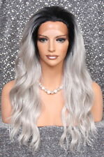 Heat OK Lace Front Wig Long Wavy beachy Black Roots w. grey Hair Piece NWT sy