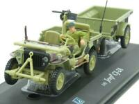 Cararama 146 Willys Jeep CJ-2A Trailer & Driver Camouflage Tan 1 43 Scale Boxed