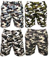 Mens Camo Camouflage Cargo Elasticated Shorts Cotton Combat Half Pants Bottoms 1