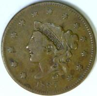 1837 Pl. Cd., Med. Let., Coronet Head Large Cent; VF; N-8