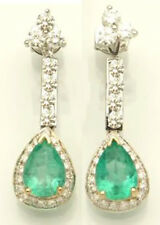 6.30Ct Round Natural Diamond Emerald 14K White Gold Diamond Chandelier Earrings