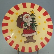 Arcoroc Santa Claus Bowl Decorative Toy Bag Tree Holiday Glass Red Yellow France