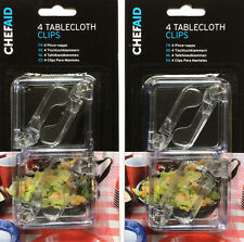 8 x Chef Aid Tablecloth Clear Plastic Clips Indoor Outdoor use Spring Loaded New