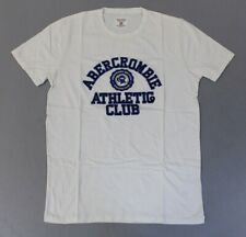Abercrombie & Fitch Men's Short Sleeve Athletic Club Logo Shirt BE9 White Medium