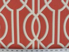 Drapery Upholstery Fabric 100% Cotton Geometric Art Deco Print - Tomato Red