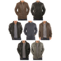 Alta Men's Motorcycle Bomber Fleece Lined Faux Leather Jacket
