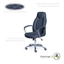 Chaise de bureau fauteuil élégant noir chromee réglable en hauteur avec finit...