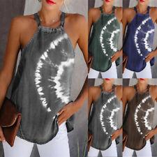 Womens Tie-Dye Blouse Halter Tank Tee Shirt Cami Sweatshirt Vest Tops Summer NEW