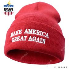 Donald Trump Hat MAGA Winter Knit Red Beanie Make America Great Again Cap USA