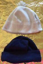 c5f3c435eccaa 1 girls 1 women FLEECE WINTER HATS IVORY DARK BLUE ONE SIZE SOFT