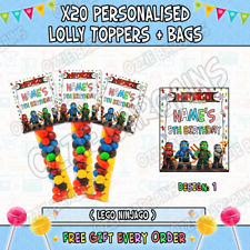 x20 Personalised - LEGO NINJAGO - Lolly Toppers + Bags / Birthday Parties