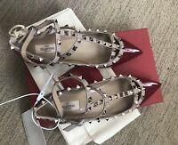 New in Box Valentino Dark Red Patent Leather Rockstud Ballerina Flats 38.5 $1045