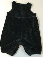 Baby Gap Girls 0-3 Mos XS Black Velour Sleeveless Jumper One Piece Outfit